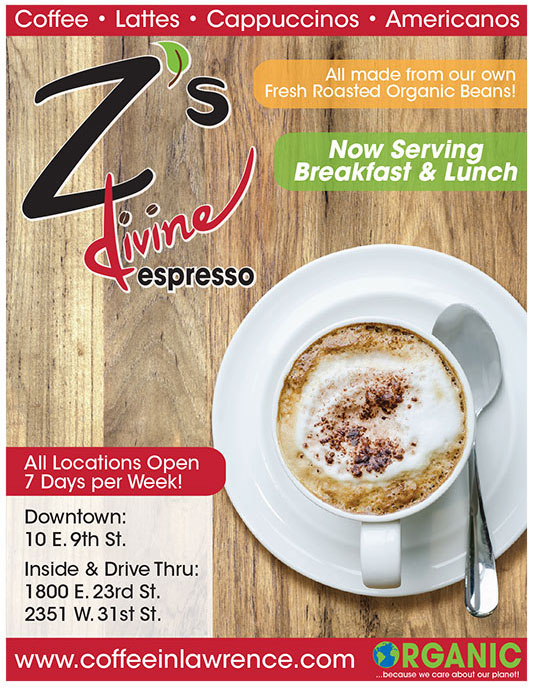 Z's Devine Espresso Ad for Lawrence Business Magazine