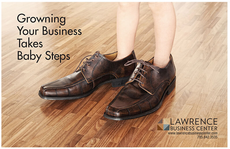 Baby Steps print ad marketing campaign for Lawrence Business Center