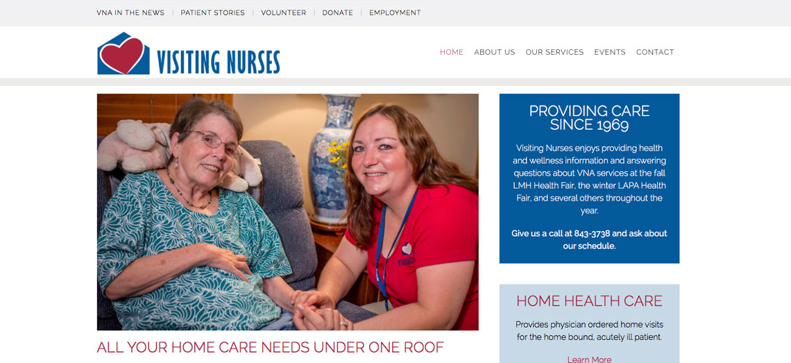 Visiting Nurses Association Website Screen Shot